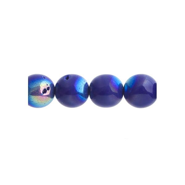 Czech Druk 10mm Beads 18/strand Opaque Cobalt AB