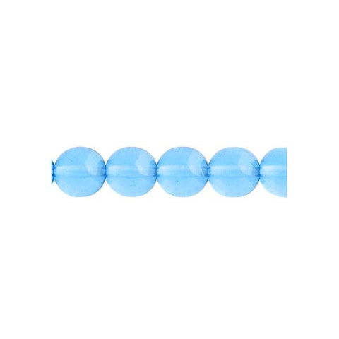 Czech Druk 10mm Beads 18/strand Trans Aqua