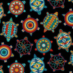 Beaded Turtles Black - Price Per Yard