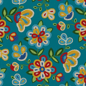 Beaded Flowers Turquoise - Price Per Yard