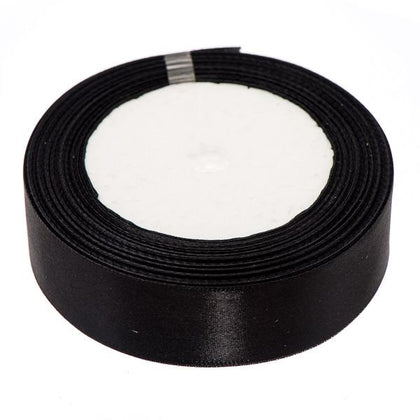 25mm Satin Ribbon Black 25yd