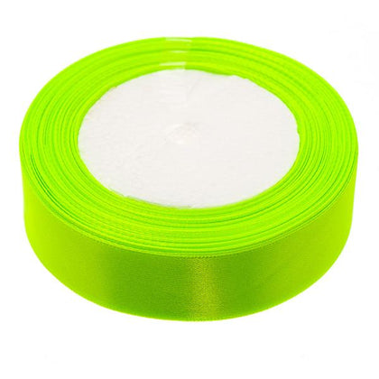 25mm Satin Ribbon Yellow Green 25yd