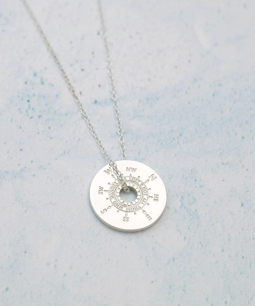 Silver Compass Necklace Side View