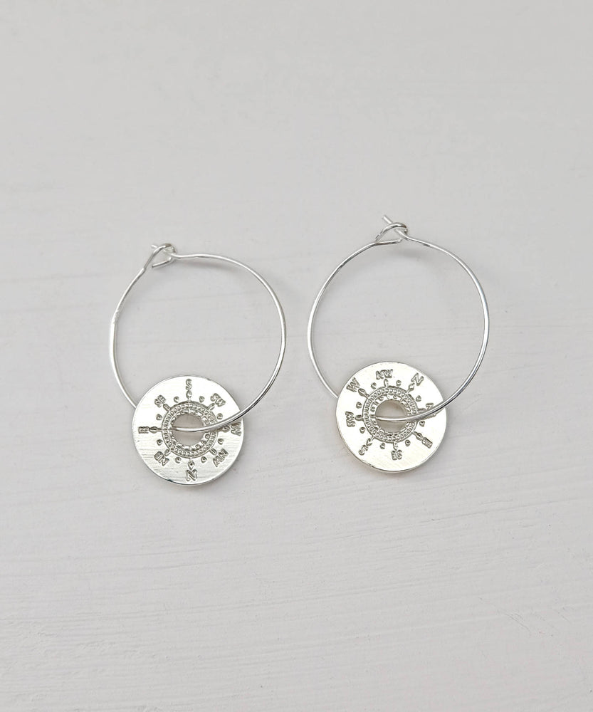 Silver Compass Earrings Top View