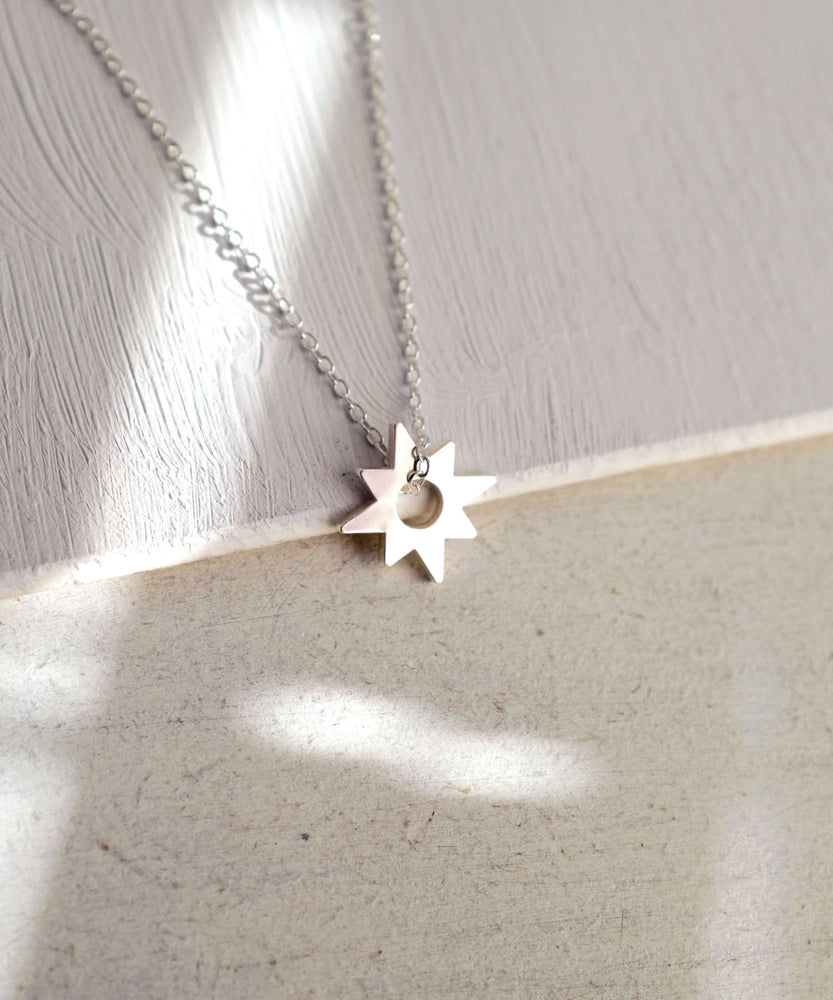 Dainty Silver Star Necklace Front