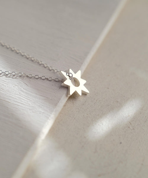 Dainty Star Necklace Side View