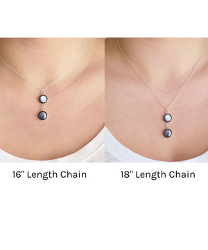 Double Moon Phase Necklace Chain Lengths