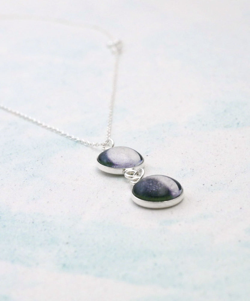 Double Moon Phase Necklace Side View