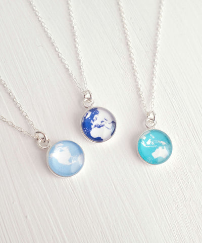 World Globe Necklace Front