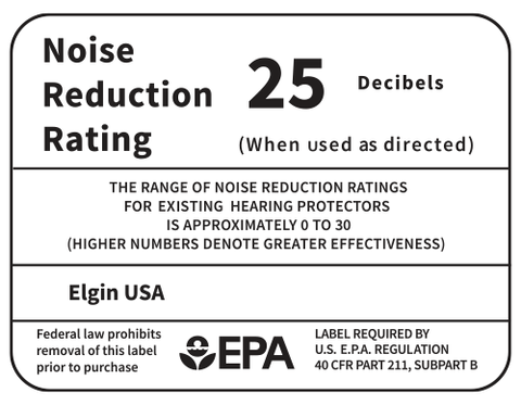 Elgin USA earplug earbud tips carry the EPA's Noise Reduction Rating (NRR) of 25 decibels recognized by OSHA to meet ANSI standards in the workplace.