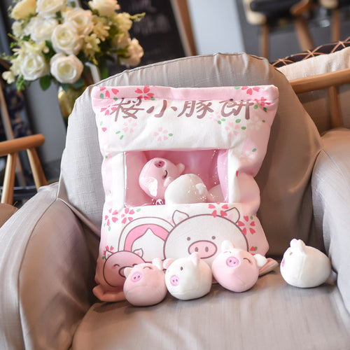 UwU Sakura Pig Pudding Bag Plush (´・(oo)・`✿)
