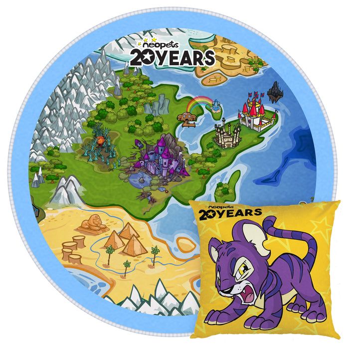 Neopets 20th Anniversary Throw Pillow & Rug Bundle