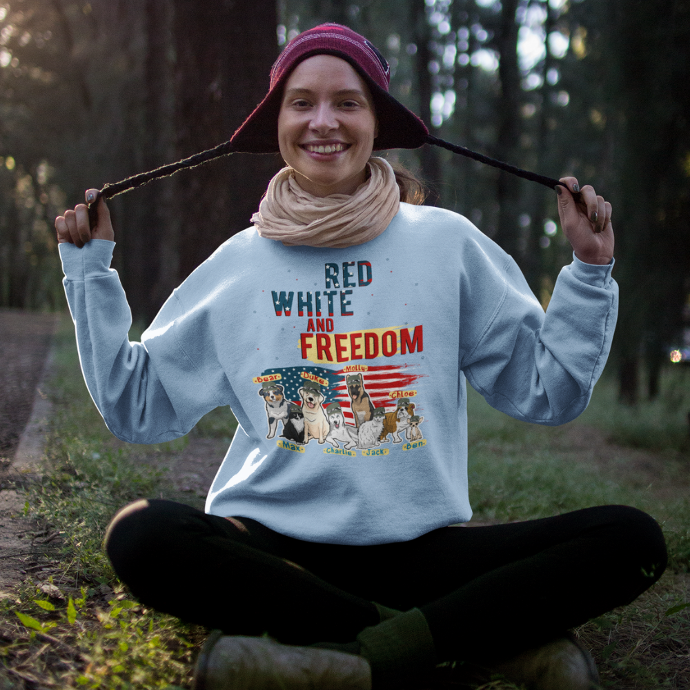 Red White And Freedom Customized Sweatshirt For Dog Lovers
