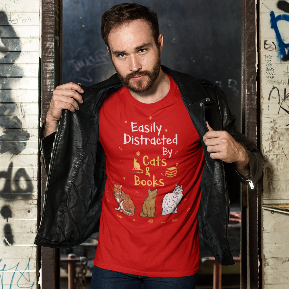 Customized Easily Distracted By Cats & Books Tee