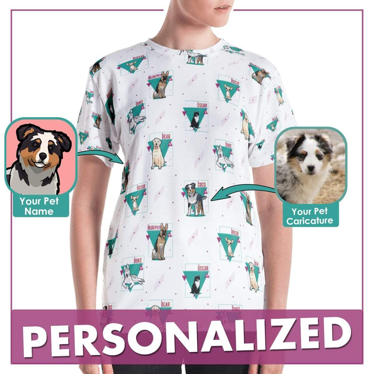Personalized Dog Mom Gifts By Pupnpaws All Over Print T-shirt Women / Purple / XS Personalized Dog-Themed Abstract T-Shirts