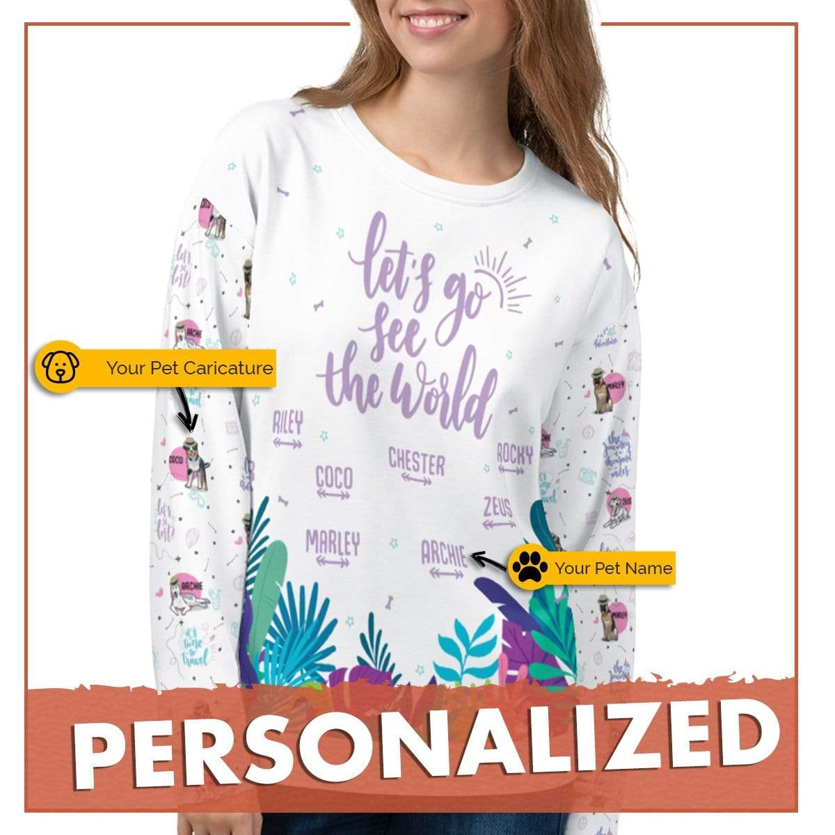 Personalized Dog Mom Gifts By Pupnpaws All Over Printed Sweatshirt Lets Go See The World Sweatshirt For DogMom