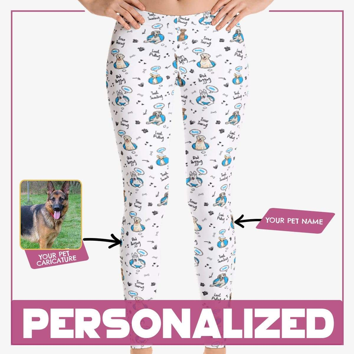 "Personalized Dog Mom Gifts By Pupnpaws Classic Leggings Blue / XS ""Naughty Memories Of Your Dogs"" Leggings"
