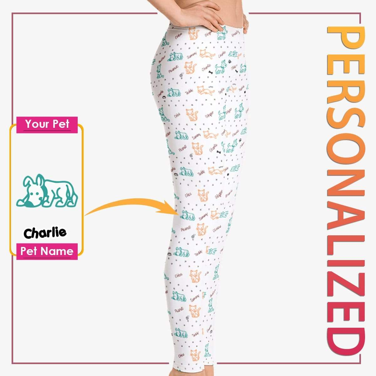Personalized Dog Mom Gifts By Pupnpaws Classic Leggings Cute Doggo-Kitty Bond All Over Print Leggings