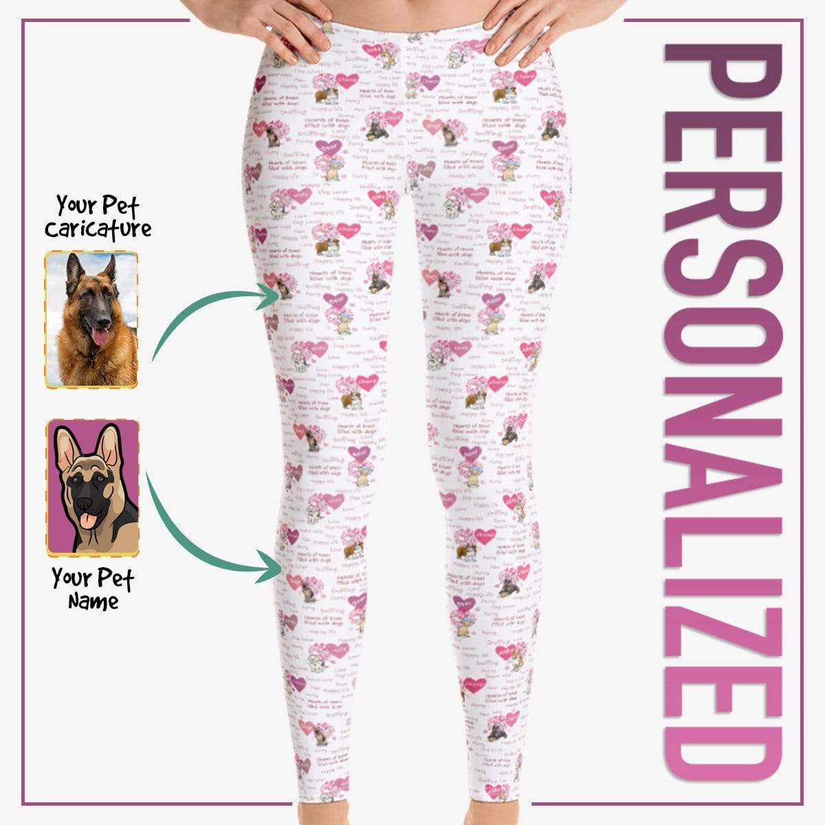 Personalized Dog Mom Gifts By Pupnpaws Classic Leggings Dog Hearts All Over Print Custom Leggings For Dog Moms
