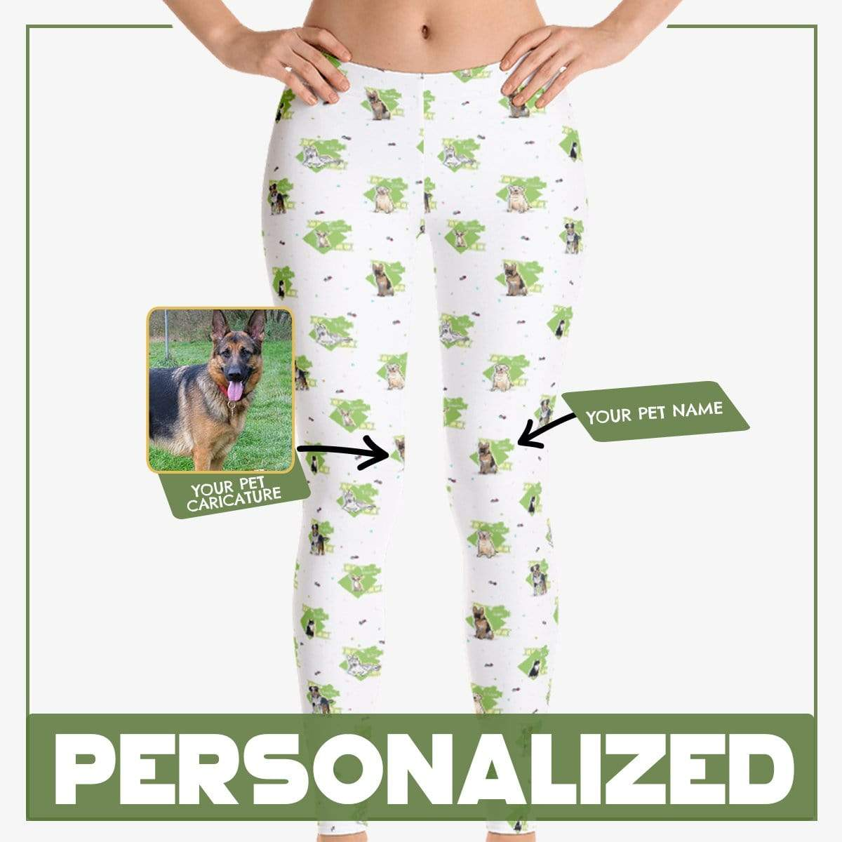 Personalized Dog Mom Gifts By Pupnpaws Classic Leggings Green / XS Customized Abstract Leggings For Dog Lovers