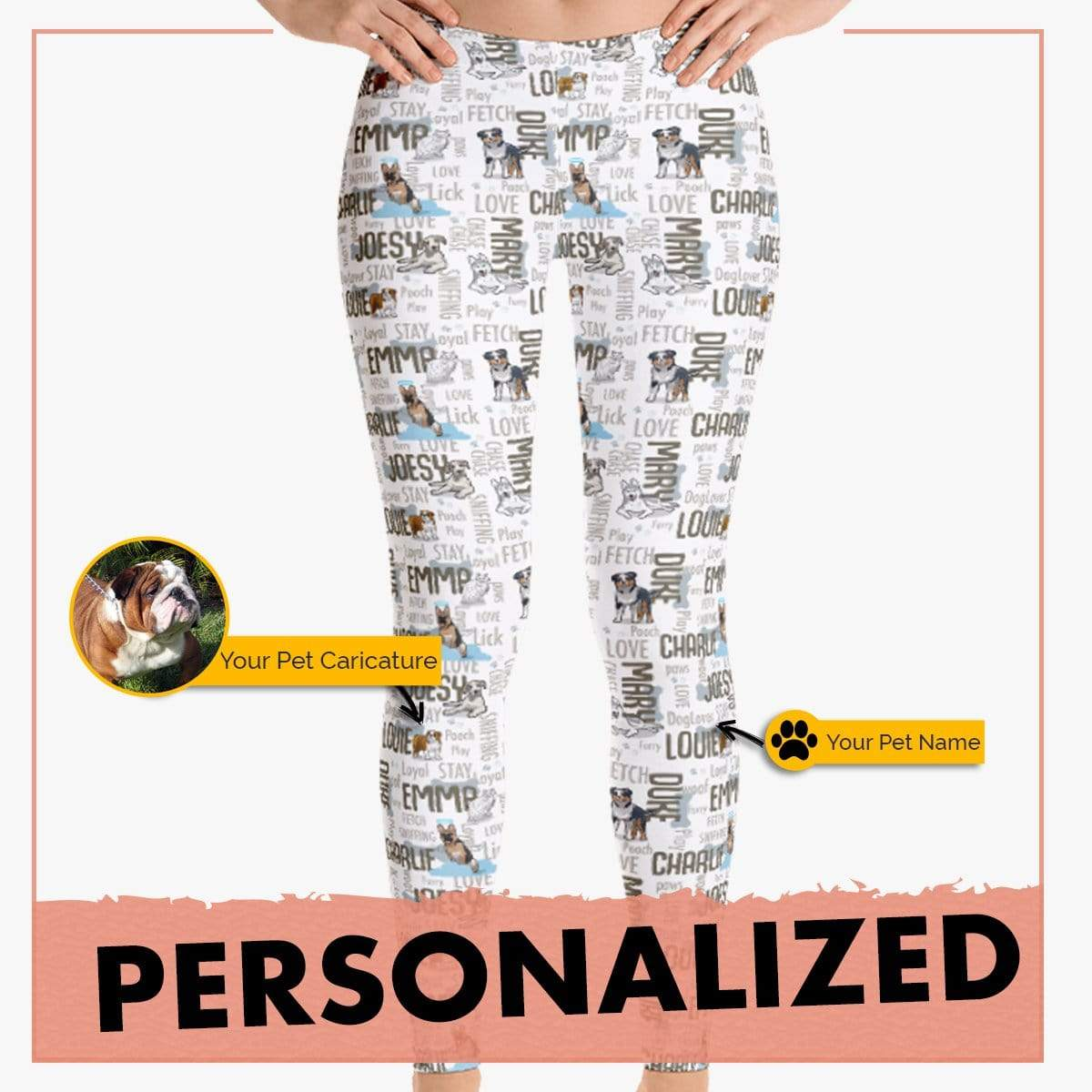 Personalized Dog Mom Gifts By Pupnpaws Classic Leggings Grey / XS Classic All Over Print Furry Family Leggings