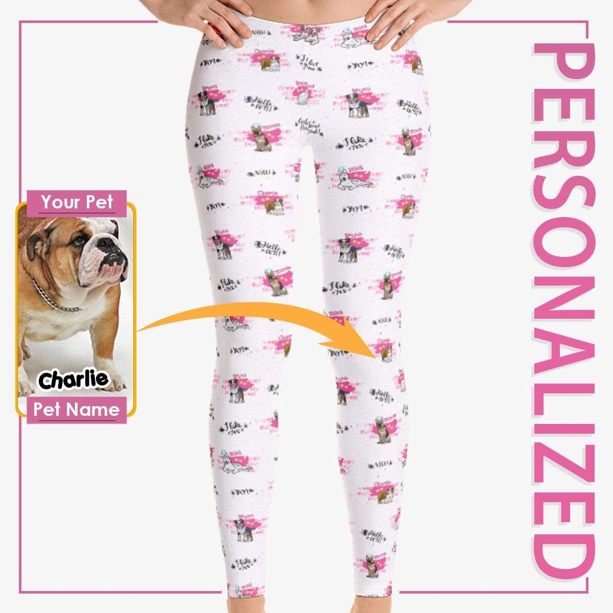 Personalized Dog Mom Gifts By Pupnpaws Classic Leggings HotPink / XS Color Splash All Over Printed Leggings
