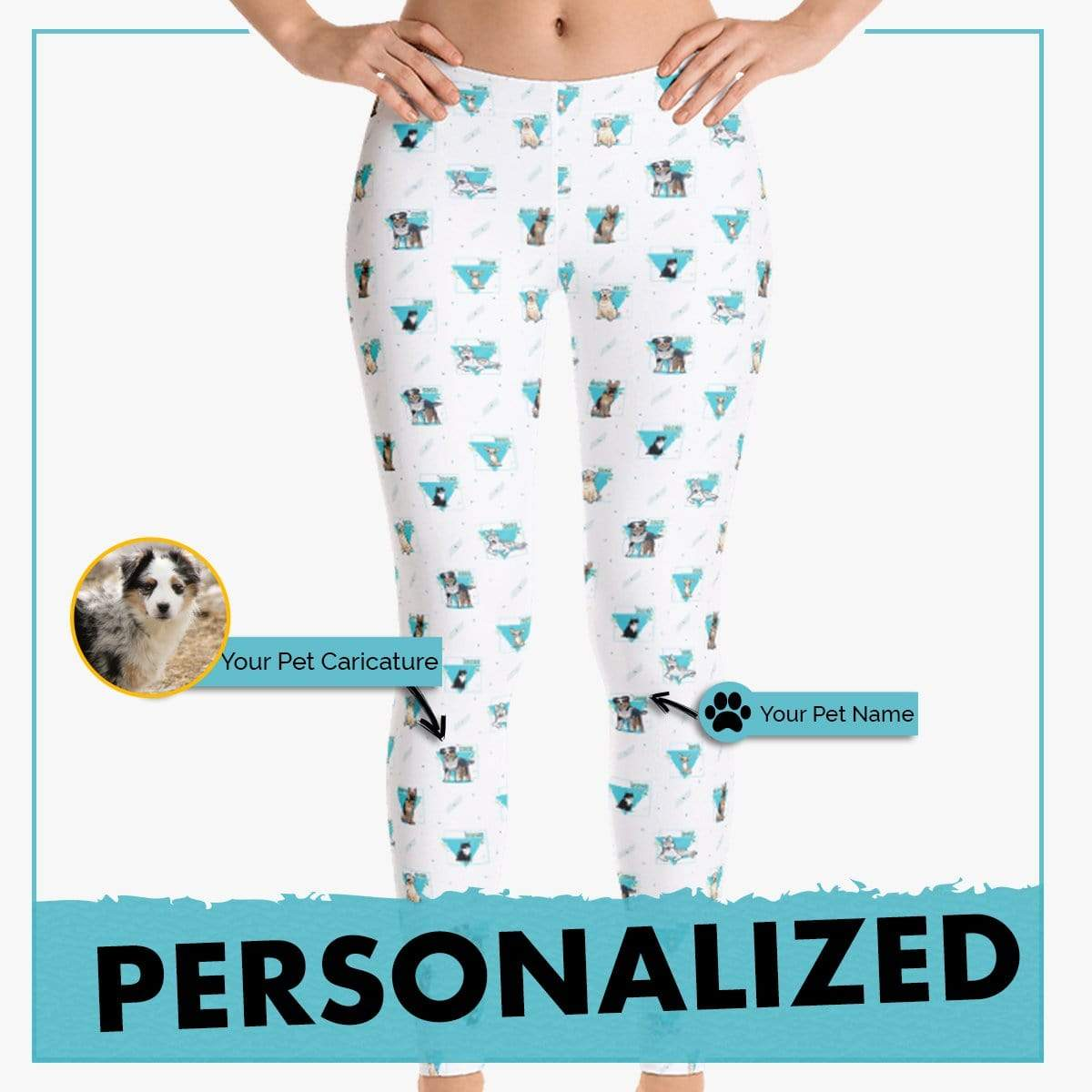 Personalized Dog Mom Gifts By Pupnpaws Classic Leggings LightBlue / XS Personalized Dog-Themed Abstract Leggings