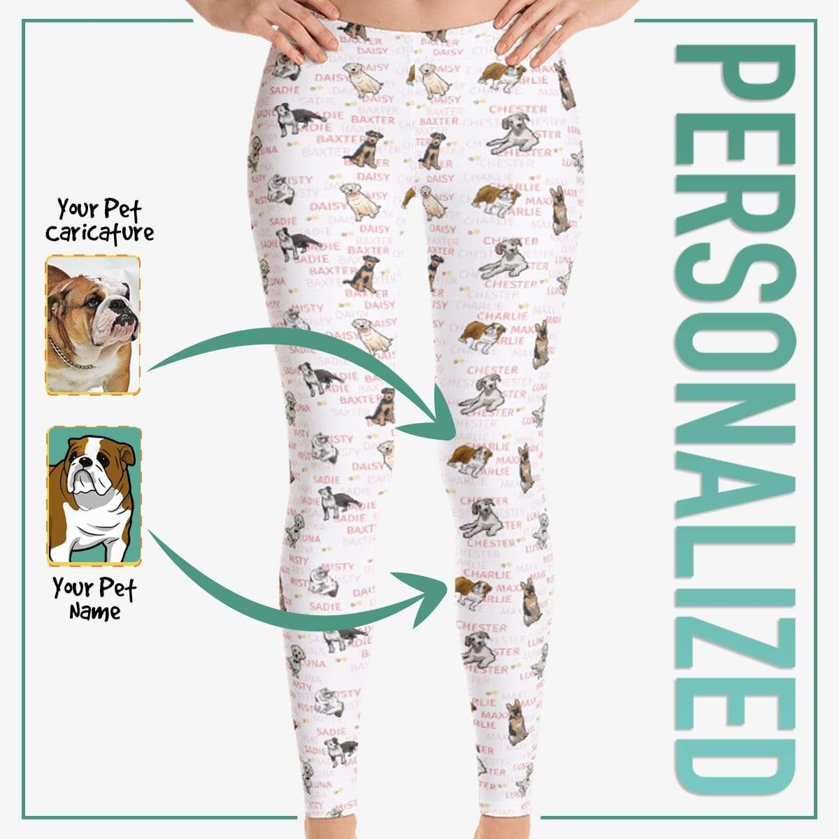 Personalized Dog Mom Gifts By Pupnpaws Classic Leggings Red / XS Classic Typography Leggings For Dog Lovers
