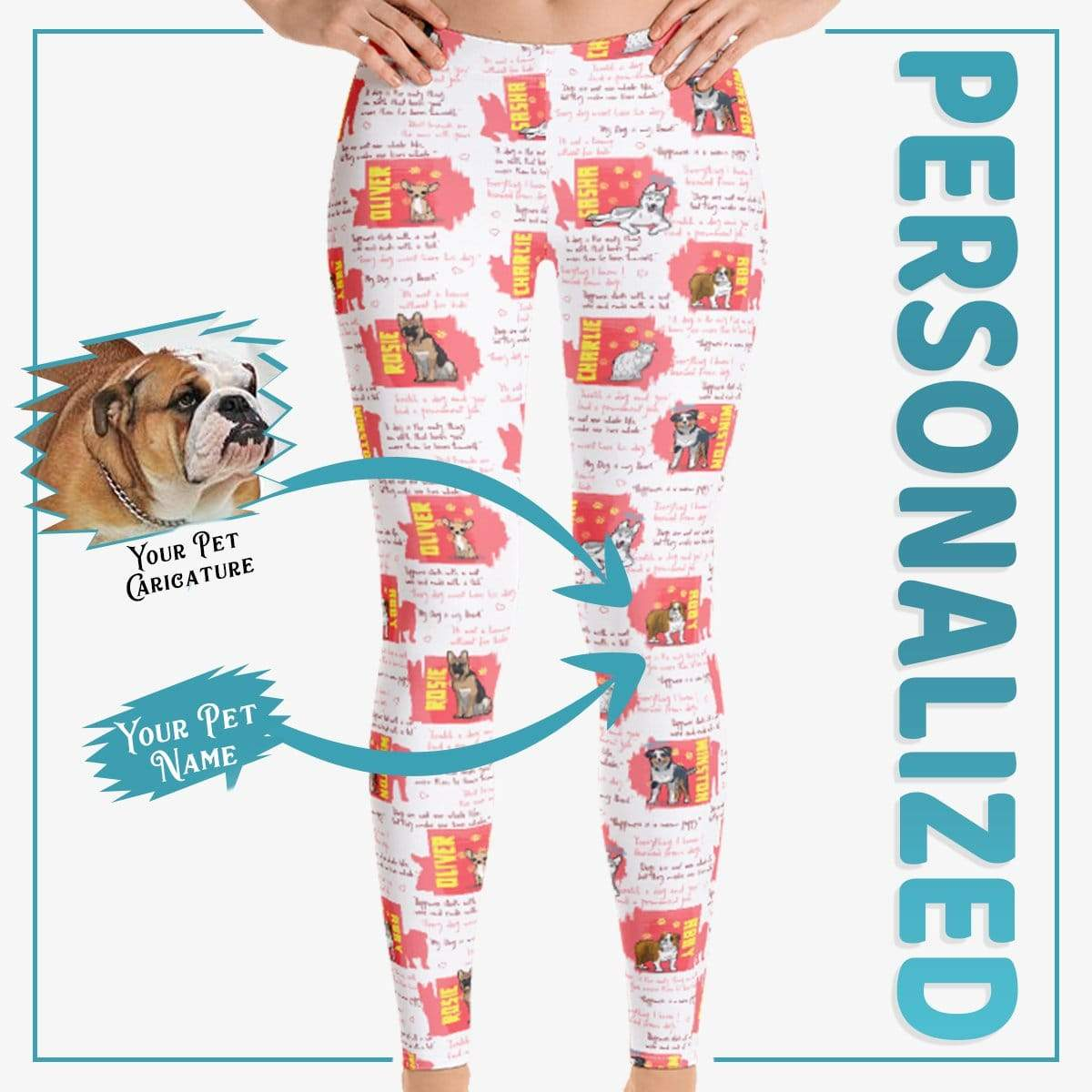 Personalized Dog Mom Gifts By Pupnpaws Classic Leggings Red / XS Dog Quotes All Over Print Custom Legging For Dog Moms