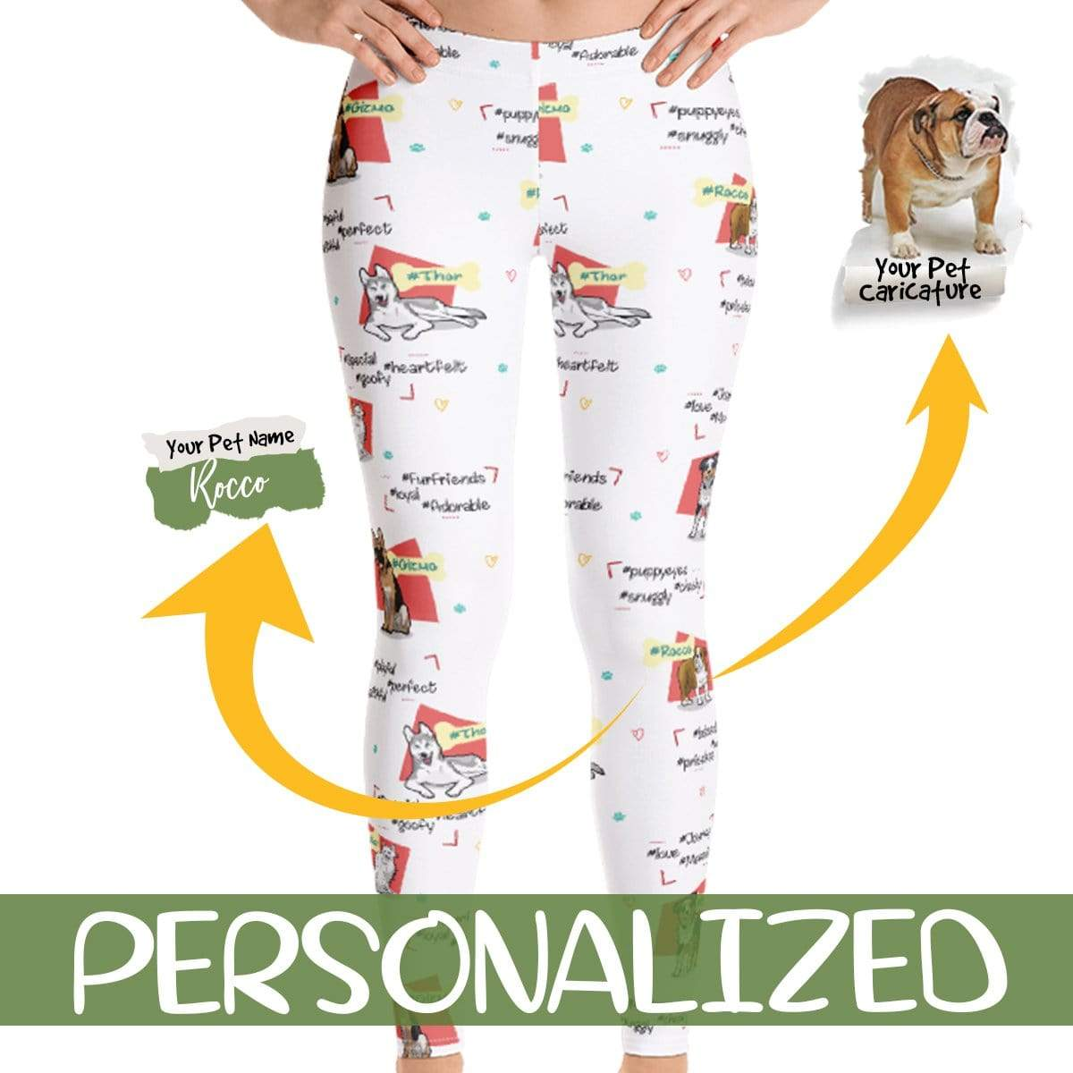 Personalized Dog Mom Gifts By Pupnpaws Classic Leggings XS All Over Print Legging For Dog Lovers With Their Hashtag Names