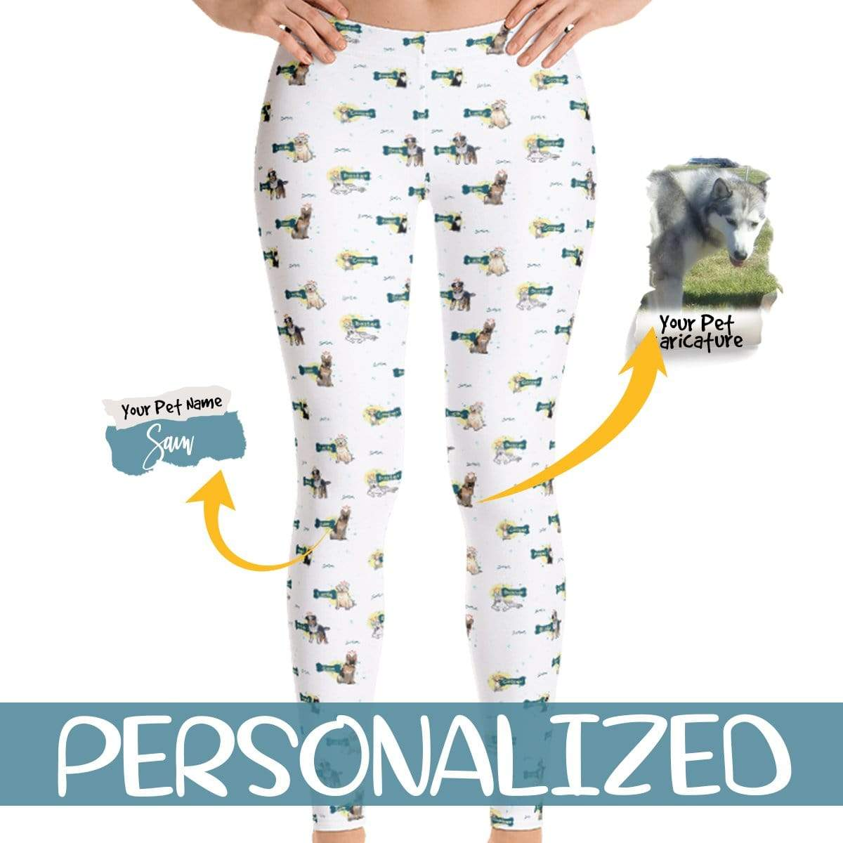 Personalized Dog Mom Gifts By Pupnpaws Classic Leggings Teal / XS Custom-Made Dog-Printed Leggings