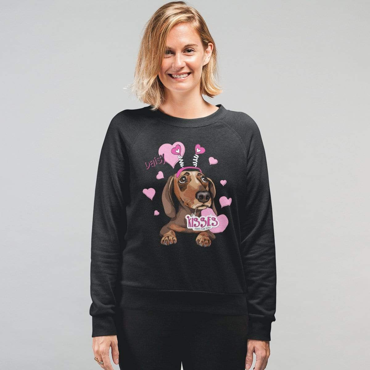 Personalized Dog Mom Gifts By Pupnpaws Cotton Sweatshirt Black / S Kisses For Free Customized Sweatshirt For Dog Lover