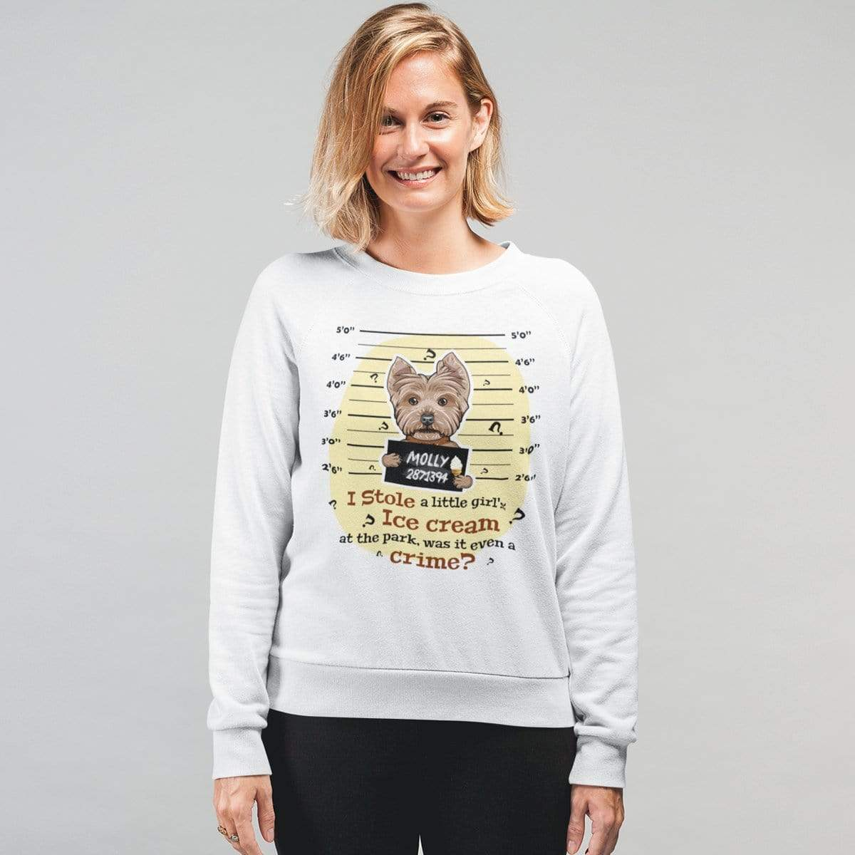 Personalized Dog Mom Gifts By Pupnpaws Cotton Sweatshirt White / S I Stole A Little Girls Ice Cream... Customized Sweatshirt For Dog Lovers
