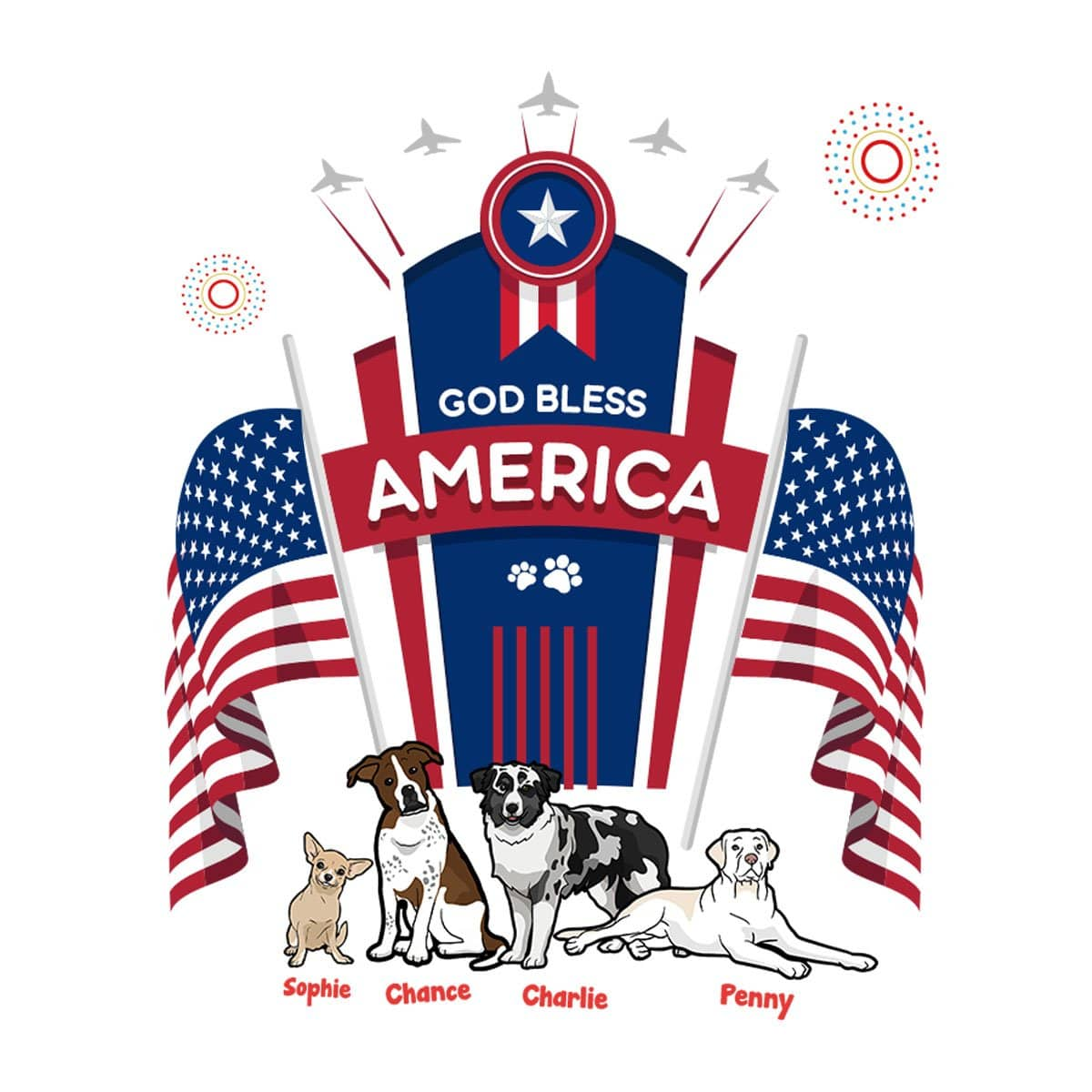Personalized Dog Mom Gifts By Pupnpaws Cotton T-shirt T-shirt / White / S God Bless America Customized Tee For Dog Lovers