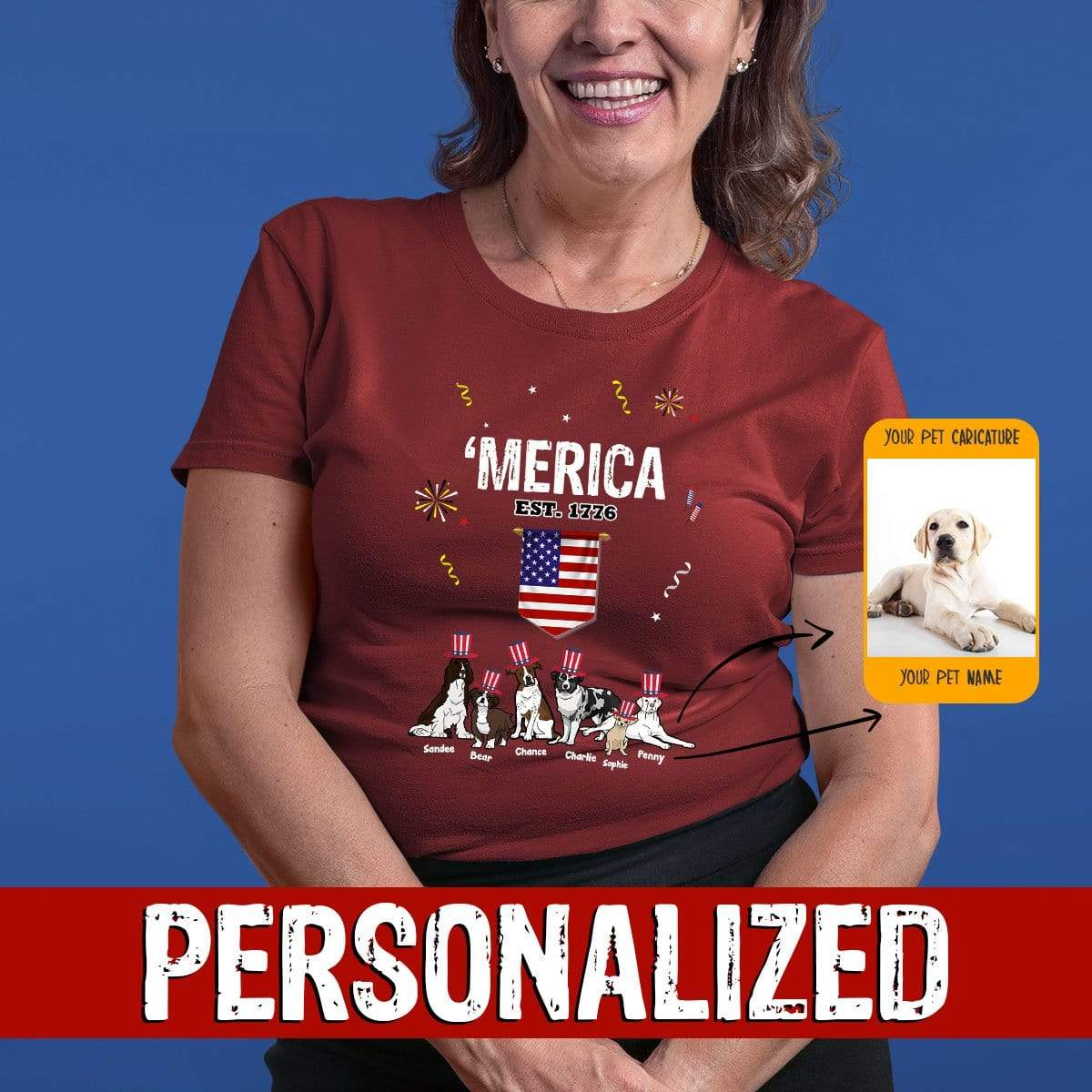 "Personalized Dog Mom Gifts By Pupnpaws Cotton T-shirt T-shirt / Maroon / S ""MERICA"" Personalized Tee For Dog Lovers"