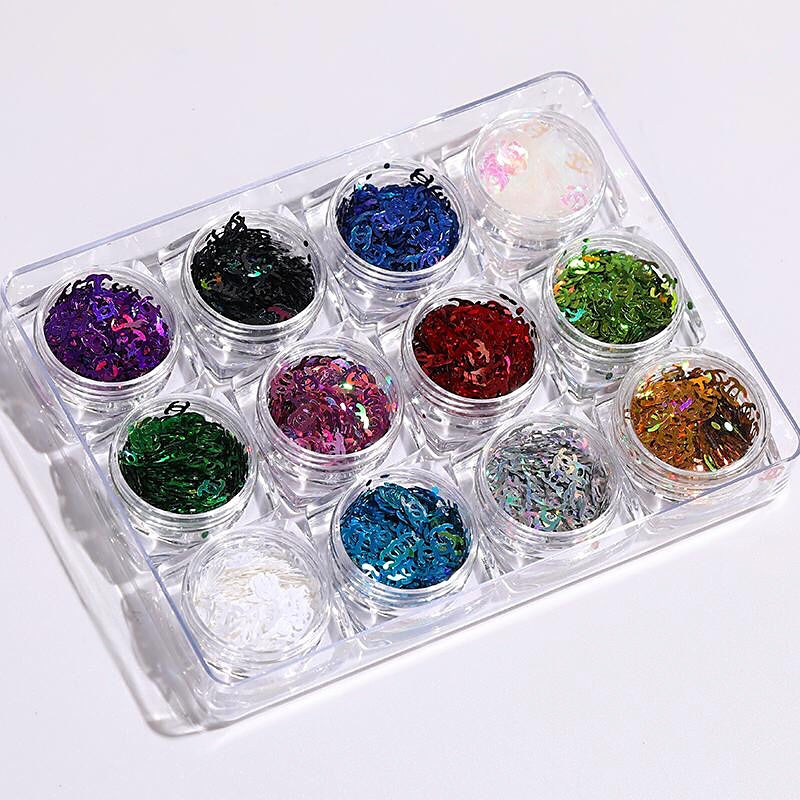 Luxury Nail Art Glitter Set (12 Colors)