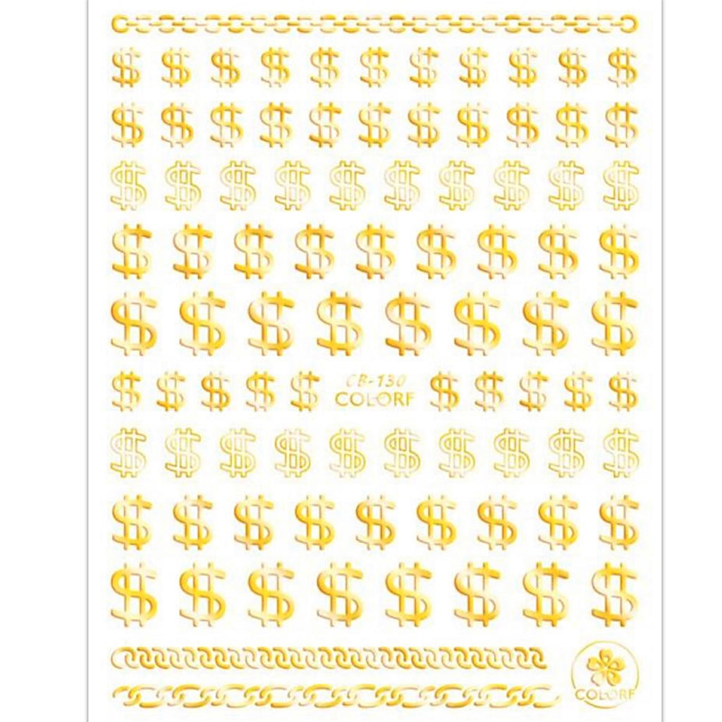 Gold Dollar Sign Nail Art Stickers