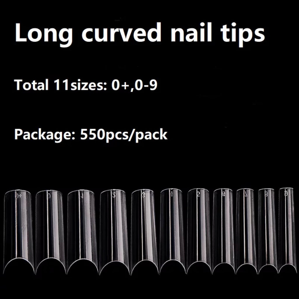 Long Straight Square C Curve Clear Tips Pack (550 Pcs)