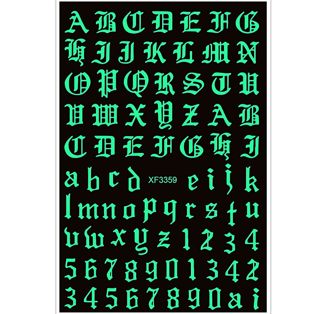 White Old English Letter and Number Glow In Dark Nail Art Stickers