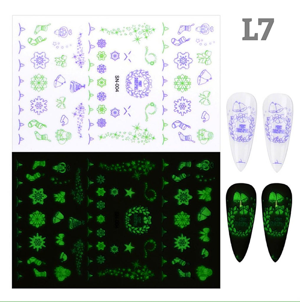Glow In Dark Christmas Nail Art Stickers