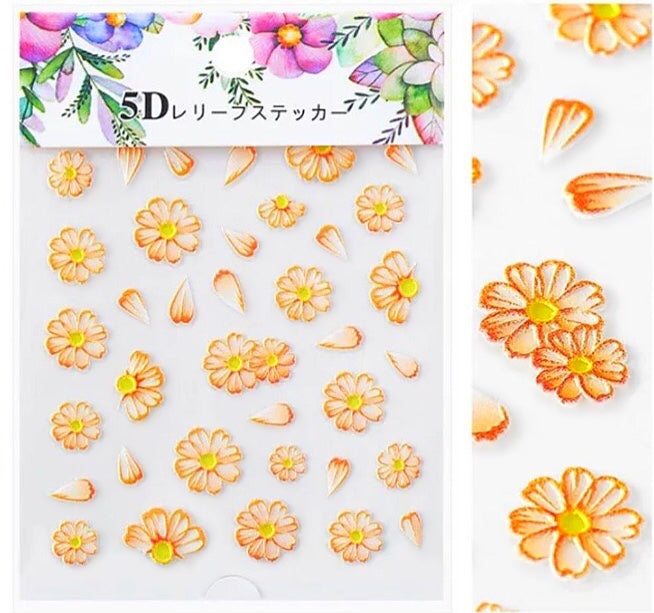 5D Japanese Flower Nail Art Stickers