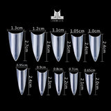 Refill Tips Size - Short Coffin & Stiletto Clear Tips 2in1