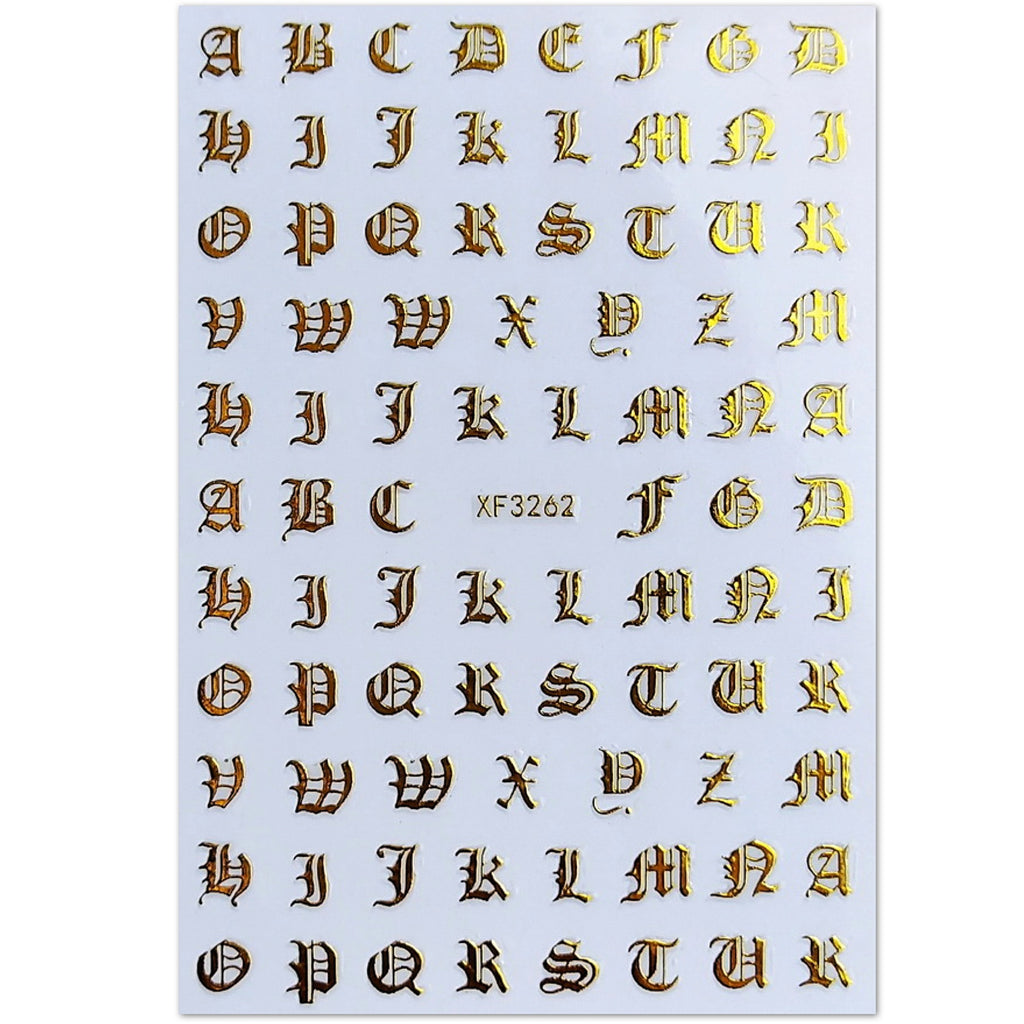 Old English Letter Nail Art Stickers