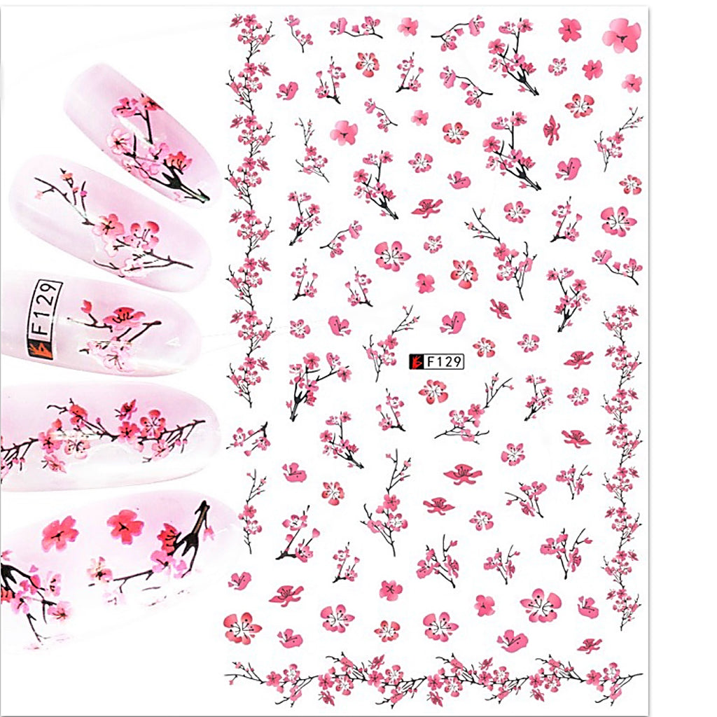 Japanese Flowers Nail Art Stickers