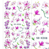 5D Flowers Nail Art Stickers