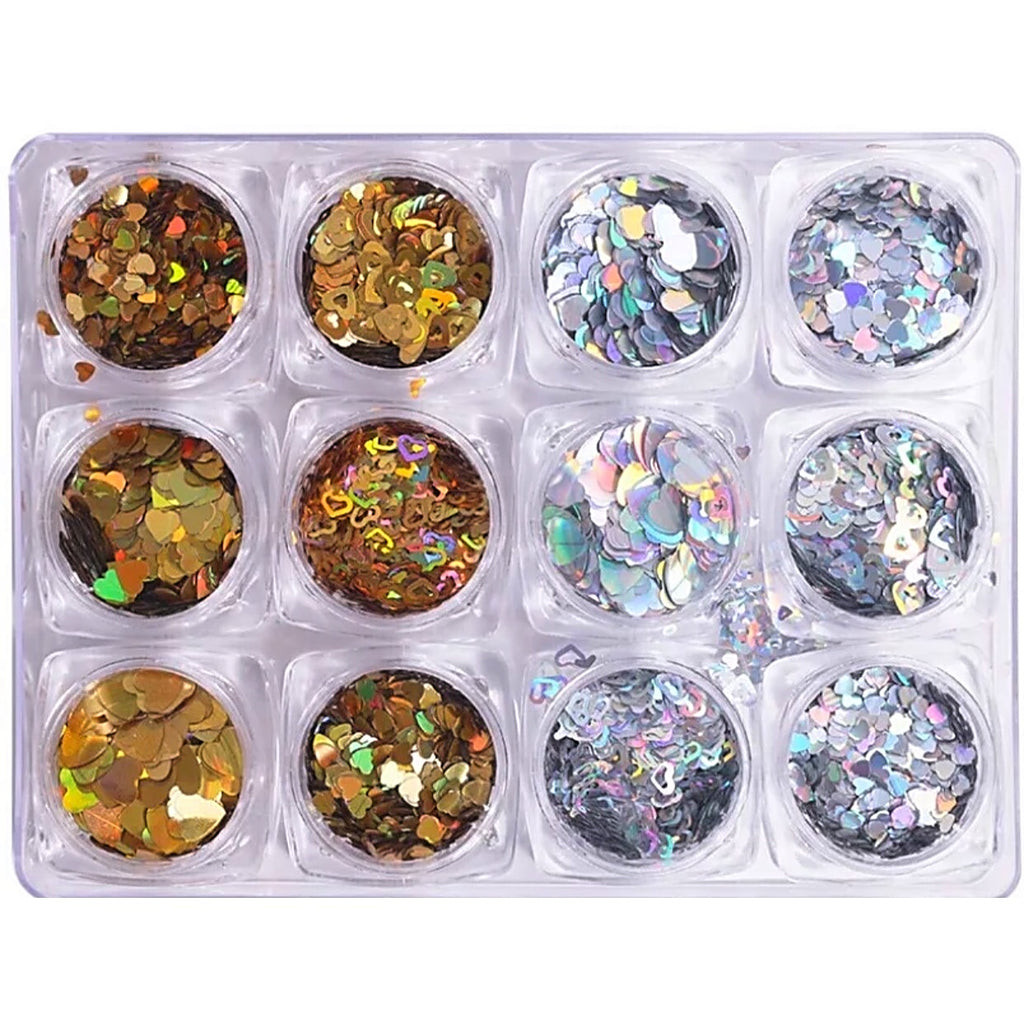 Holographic Heart Glitter Gold And Silver Set Nail Art Decoration (Super Thin)