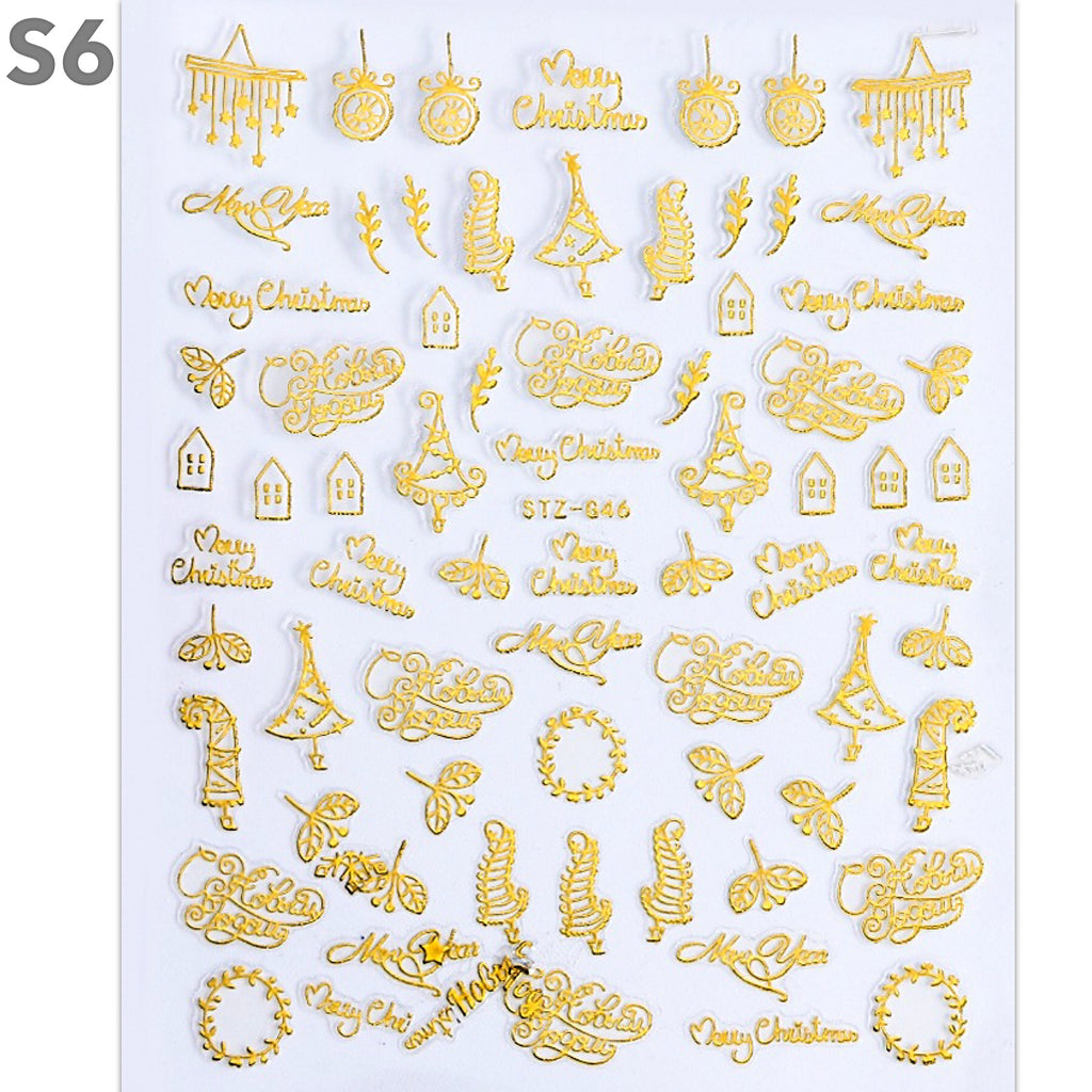 Gold Christmas Design Nail Art Stickers