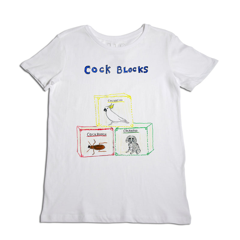 Cock Blocks Women's White T-Shirt