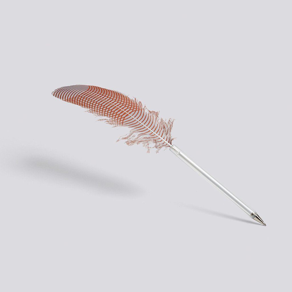 "Kugelschreiber ""Feather"", HAY, orange/grey"