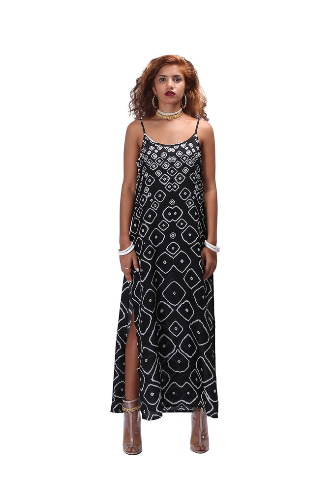 Chhota Mota Long Slip Dress - Black